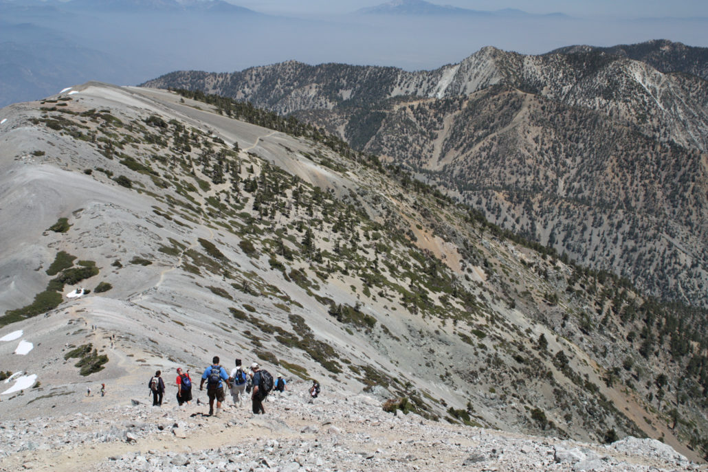 hikers descending mount baldy