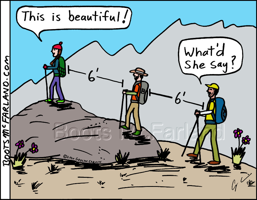 a comic showing hikers with good social distance during quarantine