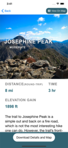 in depth trail information on the modern hiker app